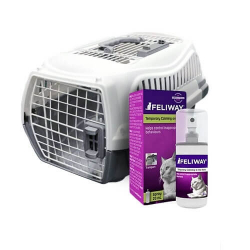 Pack Voyage Cage Transport + Feliway pour Chat