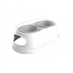 Gamelle Double Paltique Blanc pour Chien (6)