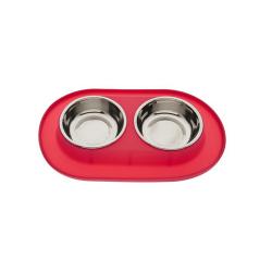 Gamelle Double avec Base de Silicone Couleur Rouge pour Chien (1)