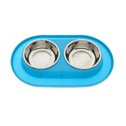 Gamelle Double avec Base de Silicone Couleur Bleu pour Chien (6)