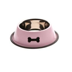 Gamelle émaillé rose avec os pour chien (6)