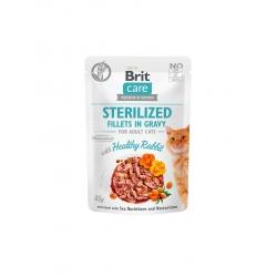 Brit care cat sterilized filetes en salsa con conejo latas para gato