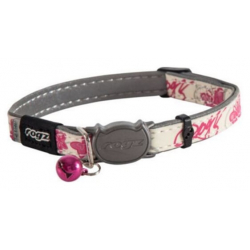 Collier nylon imprimé papillons en rose pour chat (1)